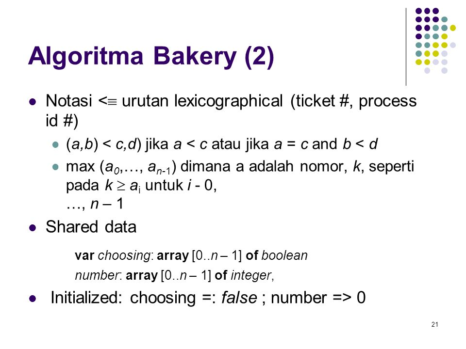 Algoritma Bakery (2) var choosing: array [0..n – 1] of boolean
